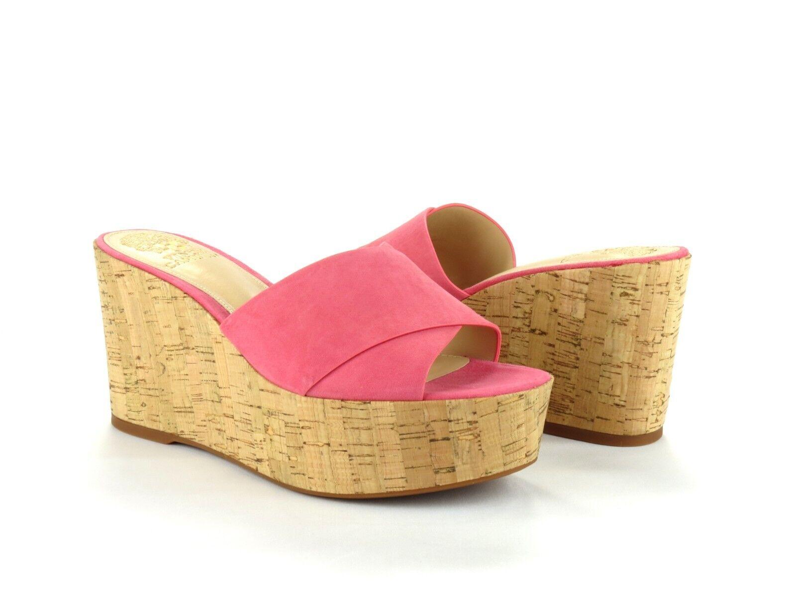 Vince Camuto Kessina Mule Soft Pink Suede Leather Cork Platform Wedge Sandal 8