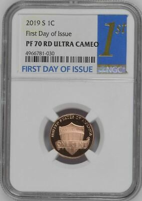 2019 S Lincoln Cent FIRST DAY OF ISSUE NGC PF70 RD Ultra Cameo Trolley Label