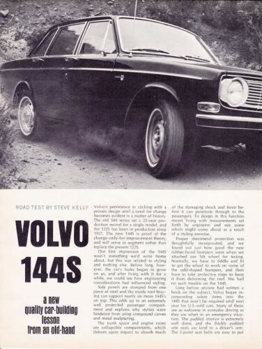 1967 VOLVO 144S ~ NICE ORIGINAL TWO-PAGE ROAD TEST / ARTICLE / AD