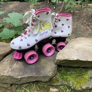 Vintage-Barbie-Roller-Skates-1988-Mattel-Size-11J-With-Carrying-Bag