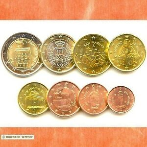 Kursmuenzensatz-San-Marino-alle-8-Muenzen-1c-2-Euro-Muenze-KMS-Satz-Eurosatz