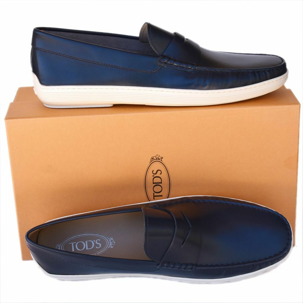 TOD'S Tods New sz US 12.5 Auth Designer Mens Loafers scarpe navy blu