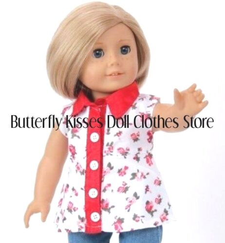 Roses Blouse+Denim Capris 18 in Doll Clothes Fits American Girl