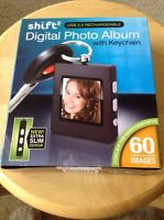 Shift Digital Photo Album Keychain, Usb 2.0 Rechargeable. Holds 60 Images.