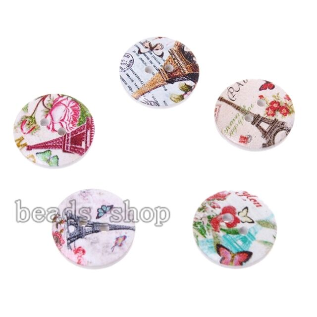 50xFashionCharms Mixed Color Pattern Wooden Sewing Buttons Fit DIY Handcrafts BS