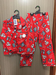 BNWT Boys Sz 12 Grey Skulls Print Long Style Flannel Winter Style PJ Pyjamas