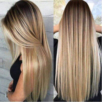 Women Blonde Ombre Long Straight Wig Rose Net Synthetic Full