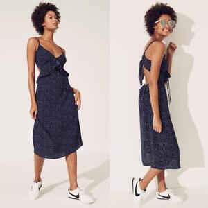 275be4b49db Details about NEW ROW A Sultry NAVY Pin Up POLKA DOT Ruffle PLUS SIZE Tie  Back MIDI DRESS XXL