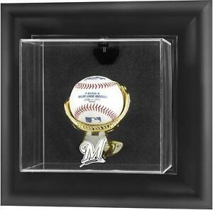 Milwaukee Brewers Black Framed Wall-Mounted Logo Baseball Disp Case - Fanatics
