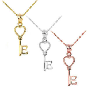 Solid Yellow White Rose Gold Open Love Heart Key Letter E Pendant Necklace Ebay