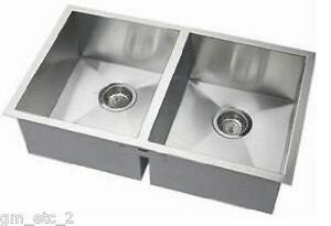New 32 Stainless Steel Double Bowl Zero Radius Corner Kitchen Sink Ebay