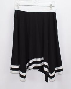 3f87873c0 NWT H&M Women's Skirt S Black w/ White Stripes Asymmetrical Stretch ...