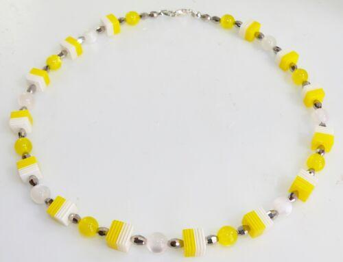 Halskette Kette Würfel RESIN HARZ Streifen Cat Eye Perle gelb zitrone weiss 024k