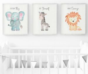 Details About Safari Animals Nursery Prints Set Of 3 Wall Art Decor
