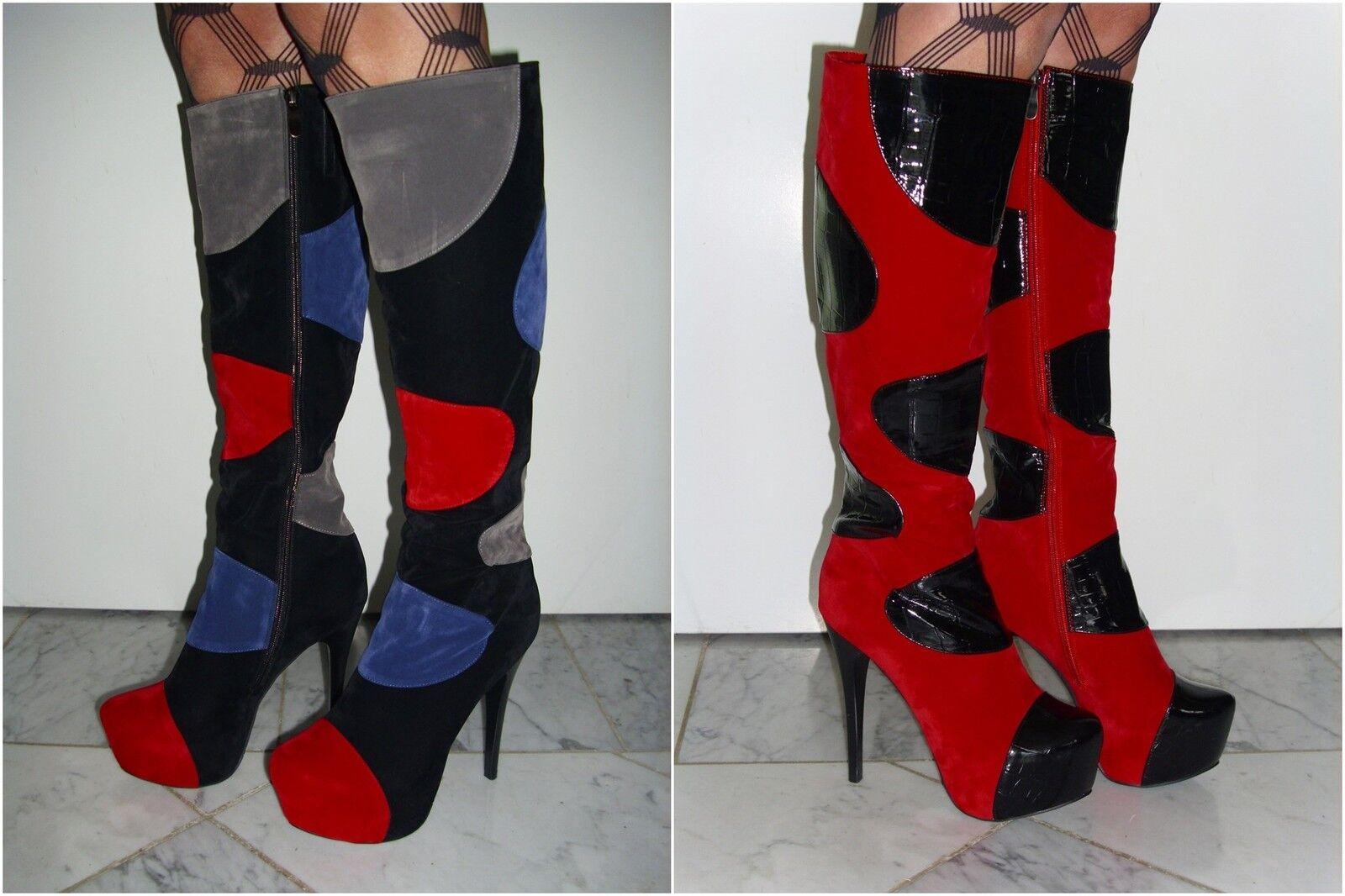 Bottes Femmes Talons Hauts Plateforme Stiletto Noir Couleuré, Rouge Noir ABS. CA 14 cm