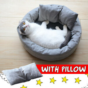 XL-Dog-Cat-Round-Bed-Sleeping-Bed-With-Pillow-Plush-Pet-Warm-Bed-Kennel-Mat