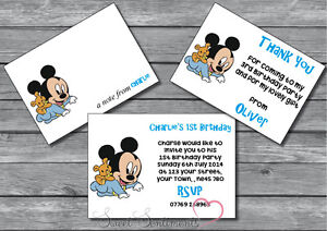 Personalised Baby Mickey Mouse Birthday Party Invite Thank You Card