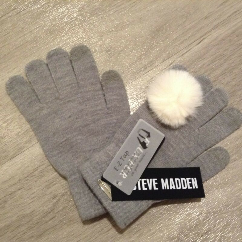 Hearty Steve Madden Women's Ring Pom Winter Gloves Light Heather Grey One Size M3017 Vivid And Great In Style