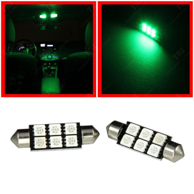"2x Green 1.72"" 42mm Festoon LED Lights Bulbs for Dome Map Reading Lamp 212-2 211"