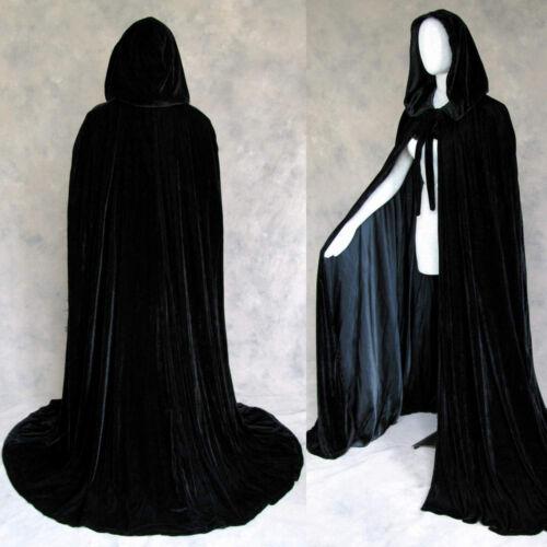 Black Velvet Lined Black Satin Renaissance Cloak Once Size Cape with Hood