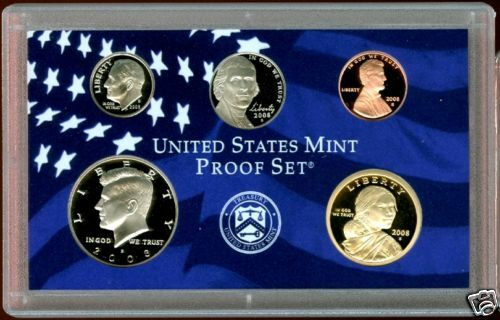 2008 CLAD U.S PROOF SET 5 COINS lincoln kennedy dime++