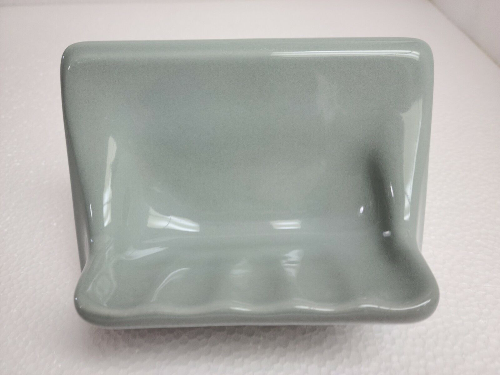 Green Silver Ceramic Soap Dish Tray Tub Shower Blue Vintage Mid Century Modern