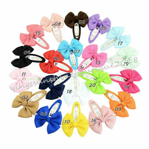 BABY//GIRL GIFT SIDE SNAP SCHOOL HAIR ESSENTIAL CLIPS SNAG FREE RIBBON BOW
