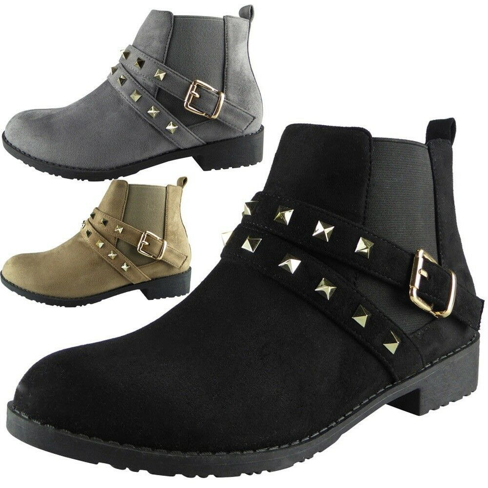 Womens Ladies Studded Buckle Low Heel Work Chelsea Ankle Boots Flat Shoes Size