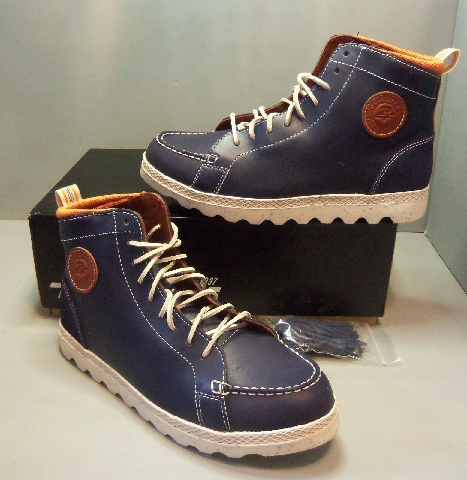 new styles f92b3 8b1ff PF Flyers Men s Brewster Hi High Top Navy Blue Blue Blue Leather Shoes  SIZES! NIB