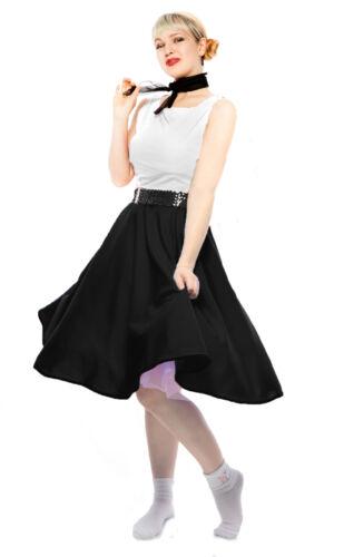 Retro Costume 50s Sock Hop Swing Dance Black Circle Skirt /& Sheer Scarf Set