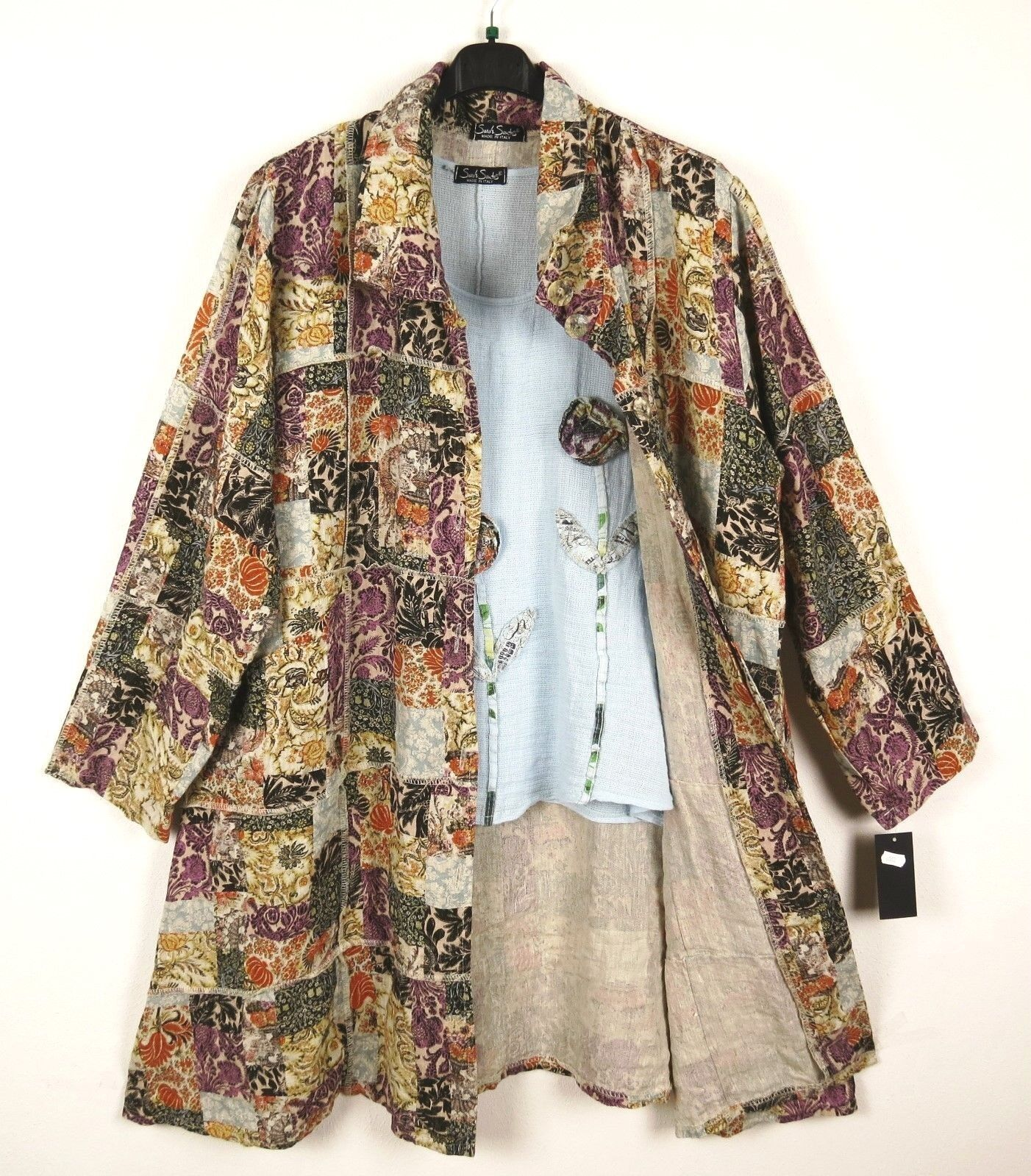 NEU SARAH SANTOS Leinen Mantel Linen Coat Manteau XXL 52 54 Lagenlook