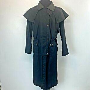 Vtg Kakadu Traders Duster Jacket size M Trenchcoat Black Oilskin Australia J1
