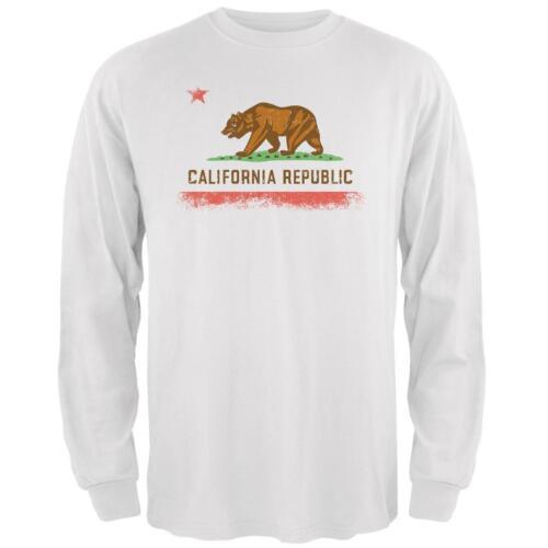 Born and Raised California State Flag Mens Long Sleeve T Shirt