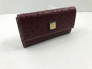 Dooney-amp-Bourke-Ostrich-Embossed-Leather-Kiss-Lock-Framed-Clutch-Wallet-Burgundy