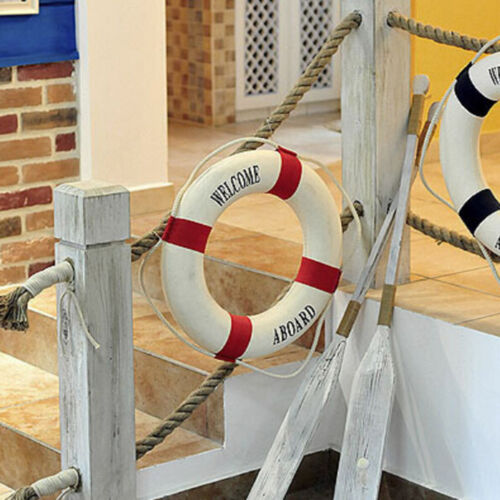 Welcome Aboard Nautical Life Lifebuoy Ring Boat Wall Hanging Home Decoration ER