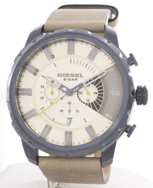 Diesel DZ-4354 Stronghold Taupe Dial Leather Strap Chronograph Men s Watch 6554a4eb92c