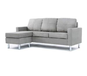 Grey Couch Chair Set Chaise Living Room