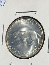 1967 Canada Silver 25 Cent Coin Centennial Running Lynx - AU / UNC?