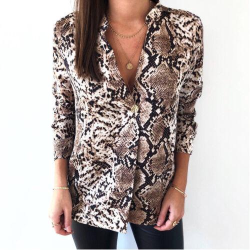 Women Snake Skin Print Tee Shirt Top Ladies Loose Button V Neck Blouse Size 6-16