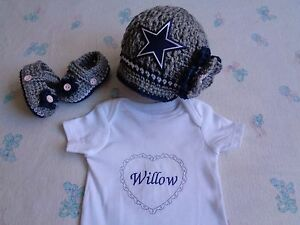 best sneakers c5178 8464f Details about Crochet Dallas Cowboys Baby Girl Hat, Booties and  Personalized Bodysuit