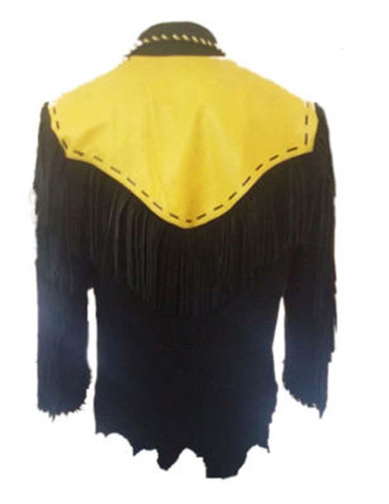 Hombres Amarillo Negro Cuero de Gamuza Chaqueta Cowboy Vendimia el Cowboy Chaqueta Flecos Capa 724449