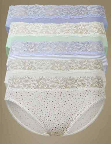 BNWT M/&S collection 5 Pack Cotton Rich High Leg Knickers UK 22 louisa lace brief