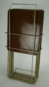 Vintage-Durham-Handi-Table-Set-of-4-with-Rack-TV-Tray