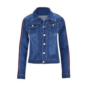 Women-039-s-Juniors-Premium-Denim-Jackets-Long-Sleeve-Jean-Coats-with-Racing-Stripes