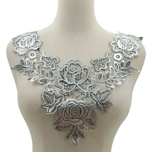 Embroidery Necklace Lace Applique Guipure Evening Dancing Dress Blossom DIY Trim