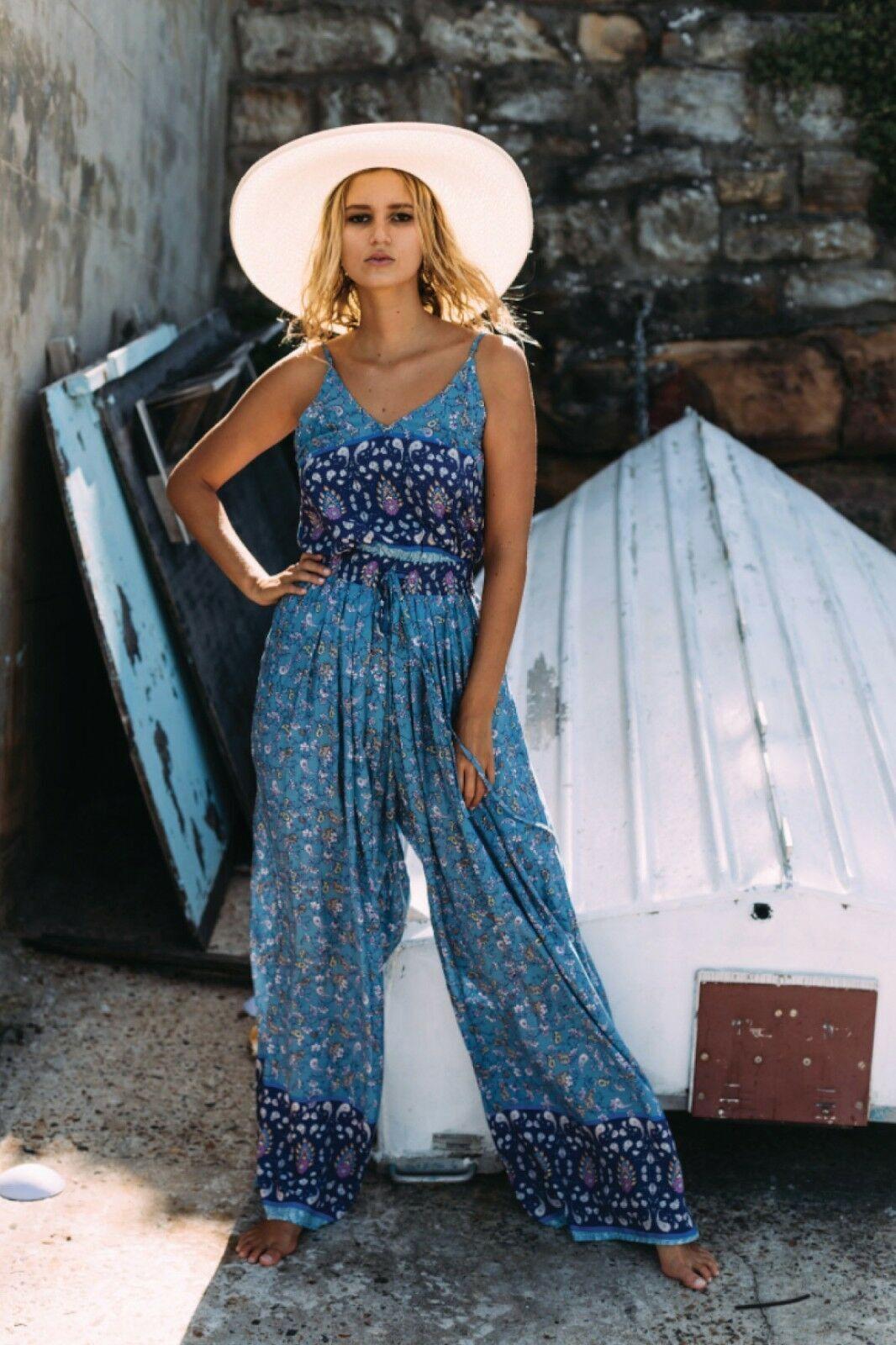 df51c066ba4 New Jaase Wave Wide Leg Jumpsuit Sapphire Print Drawstring bluee Floral Sz L