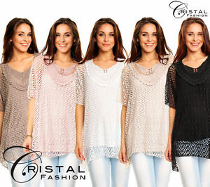 Tunika-Spitzen-Shirt-Lagenlook-Zipfel-Haekel-Bluse-S-M-L-XL-36-38-40-42-NEU-1080
