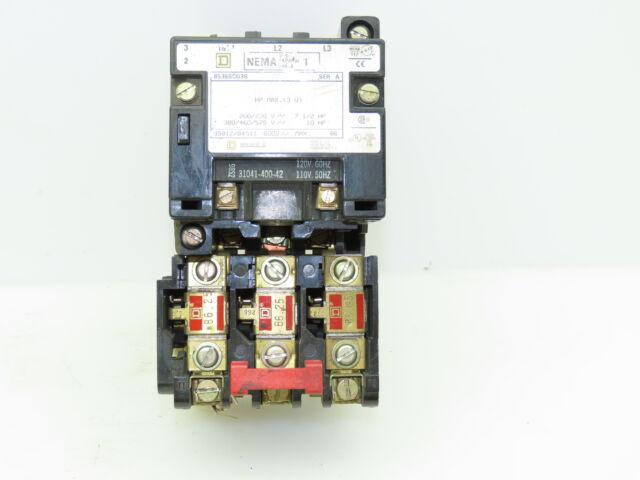 110//120V Coil Square D 8536SCG3 Motor Starter NEMA Size 1 Series A