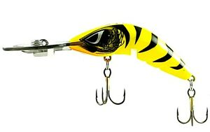FISHING-LURE-PREDATEK-BOOMERANG-YELLOW-TIGER-65-D-10g-CAST-OR-TROLL-DEEP-DIVER
