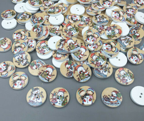 Christmas snowman Wooden Buttons Sewing scrapbooking decoration crafts 20mm